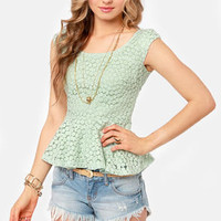 Lace Makes Waist Sage Green Top