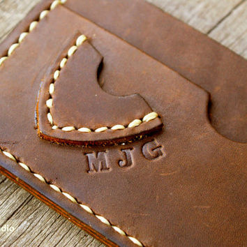 Men's Wallet / Slim , Thin Leather wallet pick guitar case card holder / Personalized Men Valentine's Gift