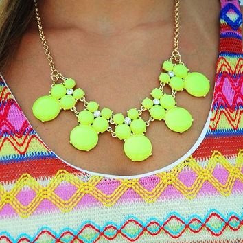 Hard To Say Goodbye Necklace: Neon Yellow