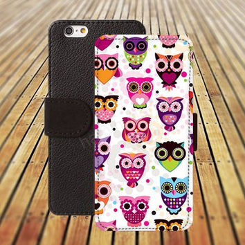 iphone 5 5s case cartoon owl colorful iphone 4/4s iPhone 6 6 Plus iphone 5C Wallet Case,iPhone 5 Case,Cover,Cases colorful pattern L358