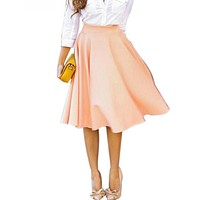 Women Perfect Peach Pink Pleats A-line Saias Femininas Flared High Waist Midi Skater Skirt S-XL 2016 In Stock Quick Ship