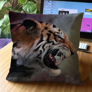 Free Shipping Creative Animal World Lion Leopard Tiger Pattern Decorative Soft Short Plush Throw Pillow Cushion For Cafe