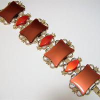 Wide Coral Lucite Moonglow Bracelet, Mid Century Moon Glow, Gold Tone, Vintage Jewelry, Costume Jewellery 617