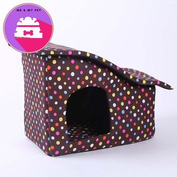 Pet Supply Portable Small Dog Bed Puppy House for Cat Soft Sponge Dot Kennel with Zip Tilted Roof Washable Dual Purpose Bed Nest