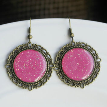 Fuchsia Earrings, Hot Pink Earrings, Glitter Earrings, Dangle Earrings, Round Earrings, Epoxy, Bronze Vintage, Gift, Large, Cyber Monday