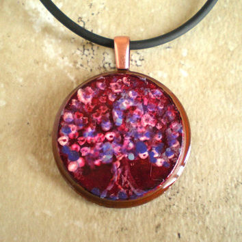 Tree Necklace: Sugar Plum - Handpainted - Copper Jewelry - Cord Necklace - Tree Jewelry - Boho Jewelry - Tree of Life - Unique Jewelry