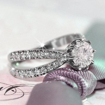Unique Diamond Engagement Ring, Split Shank Engagement Ring, Cluster Diamond Ring, Double Shank Diamond Ring, Silly Shiny Diamonds