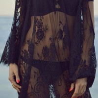 Open Road Lace Tunic in Black