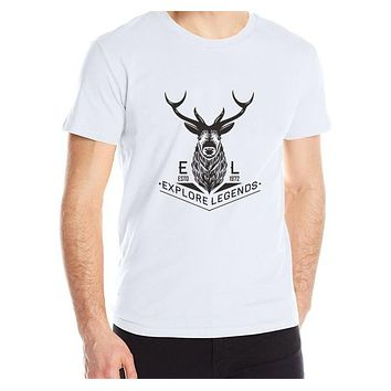 Man cotton t shirt new fashion summer Men's T-shirt o-neck Casual homme Short sleeve printing Explore the deer