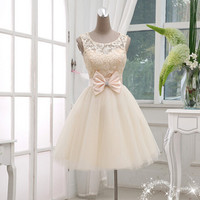 White Lace-up Bowknot Homecoming Dress,Knee Lenth Chiffon Homecoming Dress