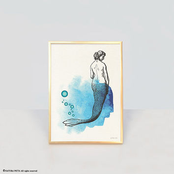 Mermaid print-ocean wall art-beach decor-watercolor print-bathroom print-home decor-coastal print-nautical print-eco art-NATURA PICTA-NPWP11