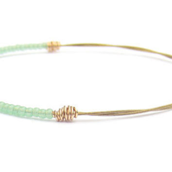 Beaded Bangle Bracelet // Eco-Friendly Jewelry // Mint Green Seed Beads, Gold Wire Wrap // Handmade // Recycled Jewelry // Music // Gift