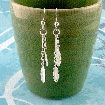 Tiny Feather & Chain Dangle Earrings in Sterling Silver