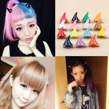 DK7G2 1Piece!!Cute Design 15 Colors Halloween Devil Horn Hairpin Girls Fashion Corner Hair Clip Hair Accessories Headwear-0086