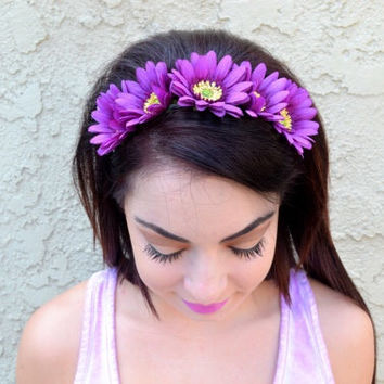 Purple Daisy Headband