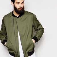 ASOS | ASOS Bomber Jacket With Asymmetric Zip In Green at ASOS