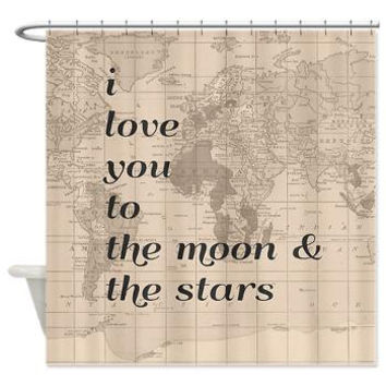I love you to the Moon and Stars Quote Shower curtain with vintage map - beige - chic, Home Decor - Bathroom - maps