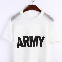 ARMY Letters Print Short Sleeve Mesh Accent Cropped Top