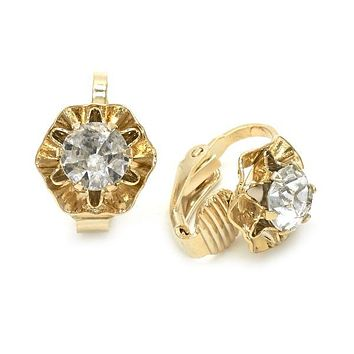 Gold Layered 02.09.0148 Leverback Earring, Flower Design, with White Cubic Zirconia, Polished Finish, Golden Tone