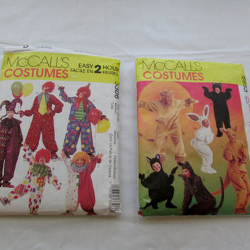 13-0802 Two Children's Halloween Costume Patterns / McCalls 8953 / McCalls 3306 / Animal Costume Pattern / Clown Costume Pattern / Size S-M