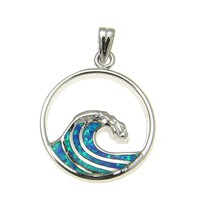 925 Sterling Silver Rhodium Hawaiian 20mm Ocean Wave Blue Opal Pendant Charm