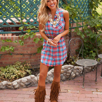 Ethereal Plaid Mini Dress Orange