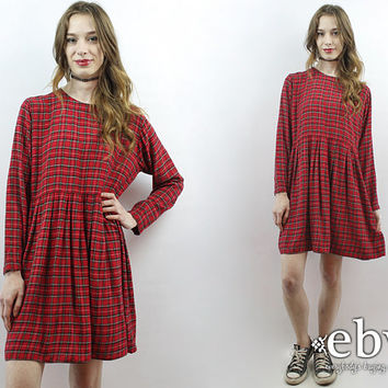 90s Babydoll Dress Red Plaid Dress 90s Plaid Dress Plaid Mini Dress 90s Mini Dress 1990s Dress 90s Dress 90s Grunge Dress Tartan Plaid Dress