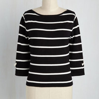 Up to Parisienne Top in Striped Black | Mod Retro Vintage Sweaters | ModCloth.com