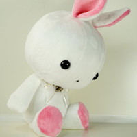 Cute Bellzi Stuffed Animal White w/ Pink Contrast Rabbit Plushie Doll - Bunni