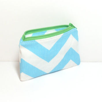Aqua Change Purse - Aqua and Green - Cute Coin Purse - Chevron Coin Purse - Coin Zipper Pouch - Party Favors - Purse Accessory - Group Gifts