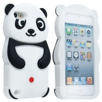 eFuture(TM) Black Cute 3D Panda Soft Silicone Gel Case Cover Fit for the Apple iPod/Touch5 +eFuture's nice Keyring