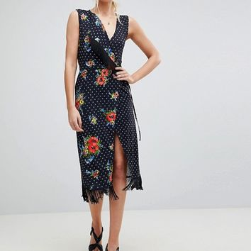 ASOS TALL Wrap Dress with Fringe in Mixed Floral at asos.com