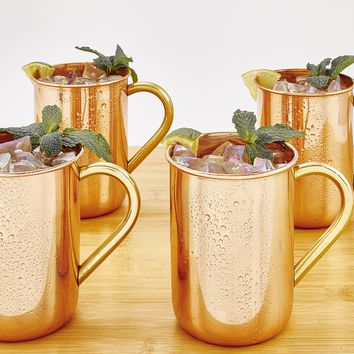 Solid Copper Straight Side Moscow Mule Mugs Set of 4 in 16 oz