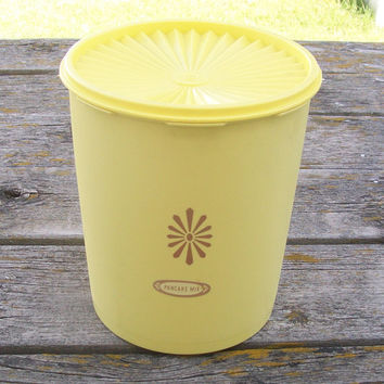 Vintage Tupperware Yellow Sunburst Canister Container with lid 1970s