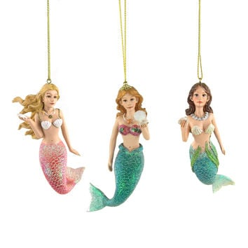 Ocean Mermaid Resin Christmas Ornaments, 4-1/2-Inch, 3-Piece