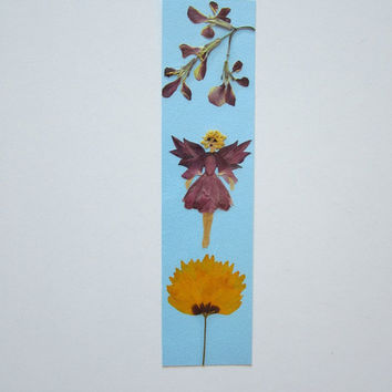 "Handmade unique bookmark ""I am floating and I feal great"" - Decorated with dried pressed flowers and herbs - Original art collage."