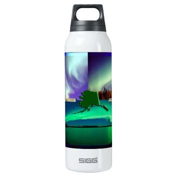 Northern Lights of Alaska Collage 16 Oz Insulated SIGG Thermos Water Bottle
