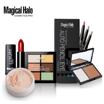 Magical Halo Makeup Set Pack Gift Eye Shadow Pencil + Shading Powder + Contour Palette + Lip Stick + Bronzer Makeup Highlighter
