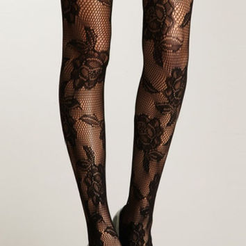 Black Seamless Floral Fishnet Pantyhose