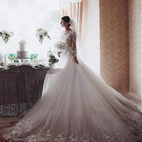 [249.99] Marvelous Tulle Bateau Neckline A-line Wedding Dresses With 3D Flowers - dressilyme.com