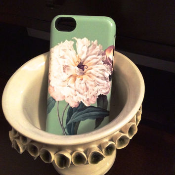 iPhone 6 case, Mint Peony Floral iphone 5 case , Floral iphone 5S , Floral iphone 5C case , iphone 4S case