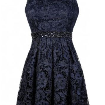 Lily Boutique Navy Blue Lace Dress, Cute Navy Dress, Navy Lace Dress, Navy Embellished Dress, Navy Bridesmaid Dress, Navy Lace Bridesmaid Dress, Navy Lace Sundress, Navy Lace A-Line Dress, Navy Party Dress, Embellished Story Rhinestone Lace A-Line Dress in