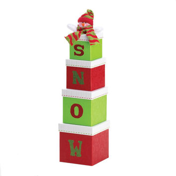 FESTIVE SNOW GIFT BOX DECOR