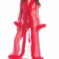 Red Marabou Feather Long Robe