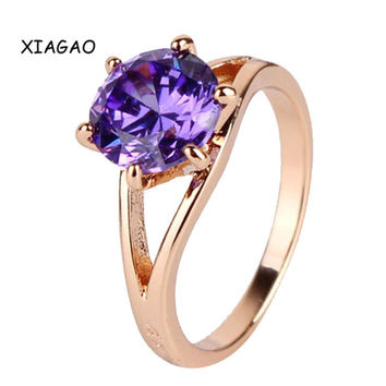 XIAGAO Fashion Wedding Rings for Women Gold Plated Ring Amethyst Purple Crystal Stone CZ Zirconia Band Engagement Ring