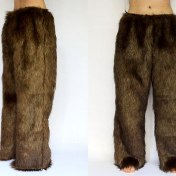 Faux Fur Pants, Handmade Satin Lined FREE SHIPPING Lounge Pants, Great for Satyr Costume, Faun, Baphomet, Faun Fur, Satyr Cosplay, Fur Pants