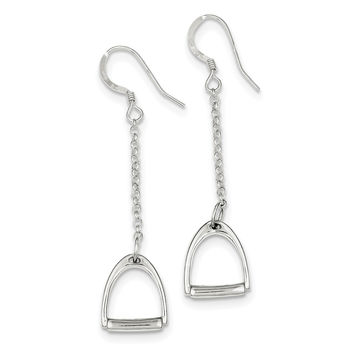 Sterling Silver Polished Horse Stirrup Dangle Earrings QE6940