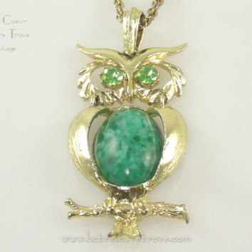 Vintage Owl Pendant Necklace with Wise Green Eyes Articulated Body