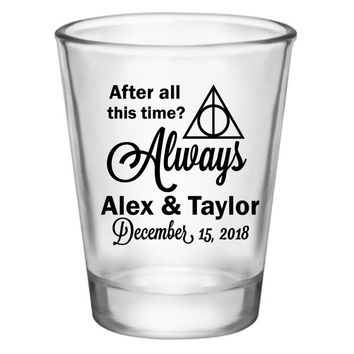 Harry Potter wedding favors, personalized shot glasses