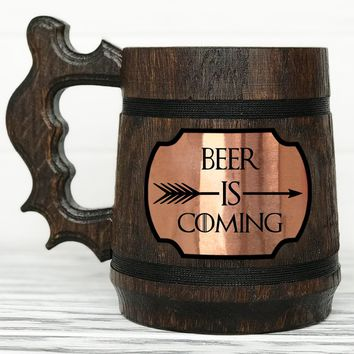 BEER IS COMING Mug. House Stark Mug. Game Of Thrones Mug. Winter is Coming Personalized GoT Gift. Custom Game Of Thrones Beer Steins. Game of Thrones Gift. Wooden Beer Mug #93 / 0.6L / 22 ounces
